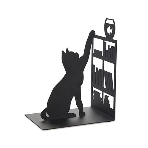 Fermalibri Gatto in metallo nero