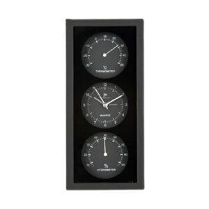 Orologio da tavolo o parete multifunzione con termometro e igrometro nero