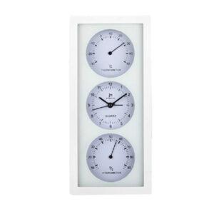 Orologio da tavolo o parete multifunzione con termometro e igrometro bianco