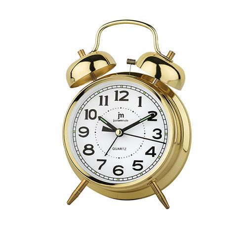 Orologio sveglia da tavolo con luce dorata