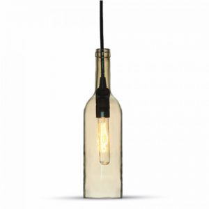 Lampadario in vetro a forma di Bottiglia + Lampadina