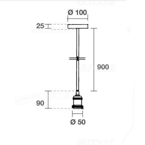 Lampadario con portalampada E27 in metallo a sospensione