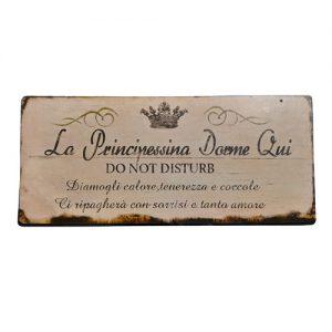 Targhetta in metallo Cartello La Principessina dorme qui 24,5x11 cm.