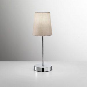 Lampada da tavolo lumetto in metallo cromato lucido con paralume tortora