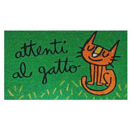 Zerbino Ingresso Attenti al Gatto in cocco verde 70x40