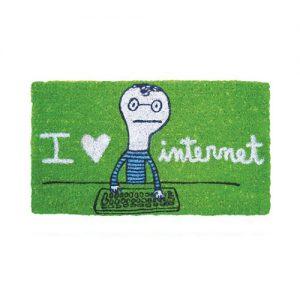 Zerbino Ingresso I love Internet in cocco verde 70x40
