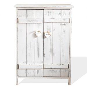 Mobile Credenza shabby in legno bianco con 2 ante