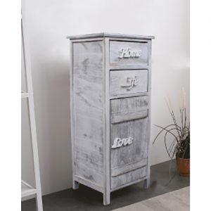 Mobiletto in legno shabby con 2 cassetti e 1 anta bianco e grigio