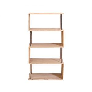 Libreria 4 ripiani Scaffale in legno naturale e metallo 126x66x33