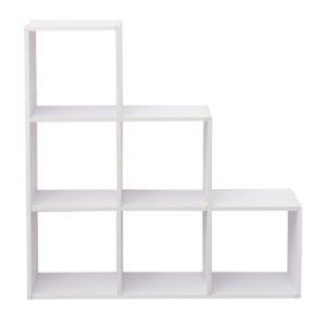 Libreria a scala Scaffale 6 cubi bianca in Mdf design moderno