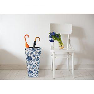 Portaombrelli Classico a Fiori bianco e Blu in MDF e Canvas 50x21x21 cm