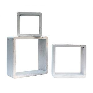 Set 3 cubi pensile da parete Mensole bianco shabby 26x26x9