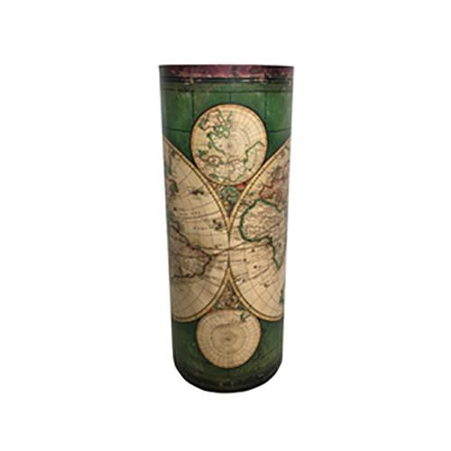 Portaombrelli Vintage Mappamondo verde e beige in MDF e Canvas 49,5x20x20 cm