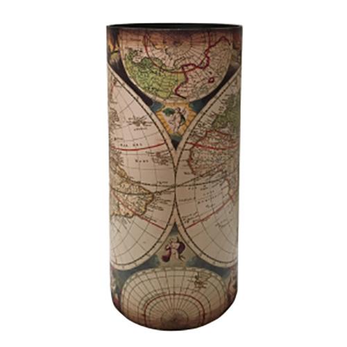 Portaombrelli Vintage Mappamondo in MDF e Canvas 50x20x20 cm