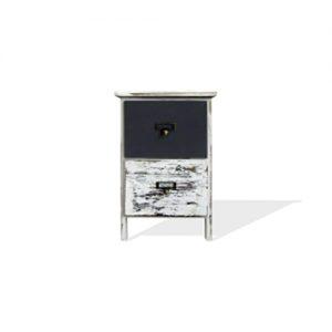 Comodino cassettiera salvaspazio Shabby 2 cassetti bianco e grigio 42x28x28